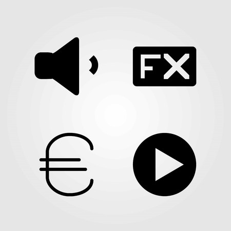 Buttons vector icons set. play button, euro and fx Illustration