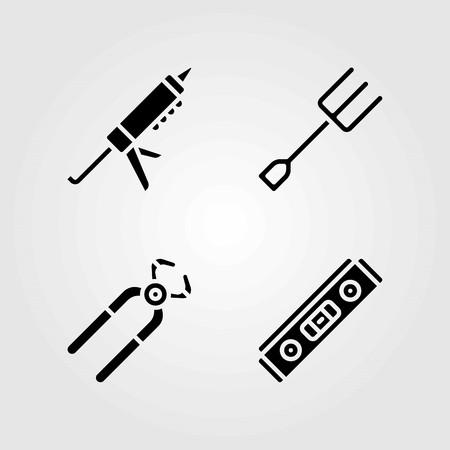 도구 벡터 아이콘을 설정합니다. 펜치, 밀폐제 및 레벨