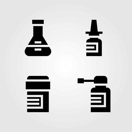Medical vector icons set. spray, flask and pills Illustration