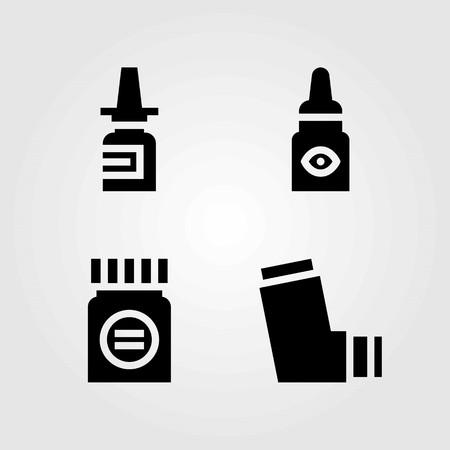 Medical vector icons set. inhaler, eye drops and nasal spray