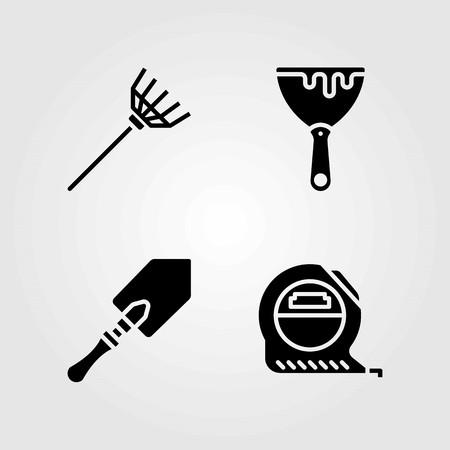 Tools vector icons set. scraper, measure and tape