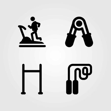 Fitness vector icons set. treadmill, pull up and pull up bar