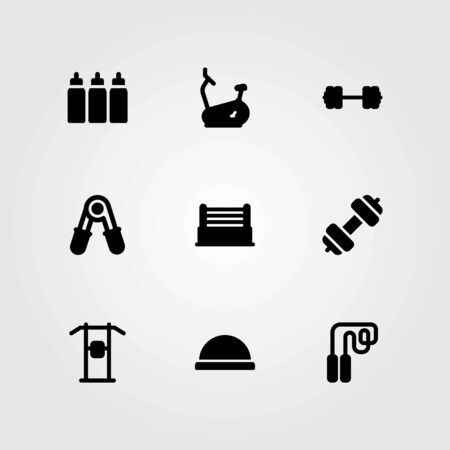 Fitness vector icons set. pull up bar, bike and ring