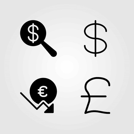 Bank vector icons set. dollar, euro and pound sterling