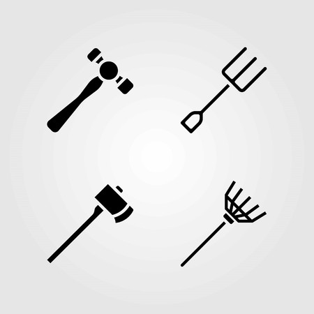 Garden vector icons set. hammer, rake and fork