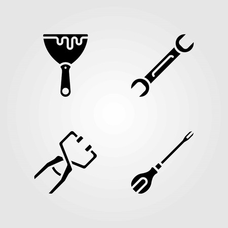 Tools vector icons set. clamp, screwdriver and spanner Çizim