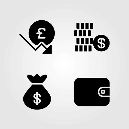 Money vector icons set. wallet, dollar and bag