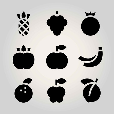 Fruits vector icon set. pomegranate, tangerine, peach and apple