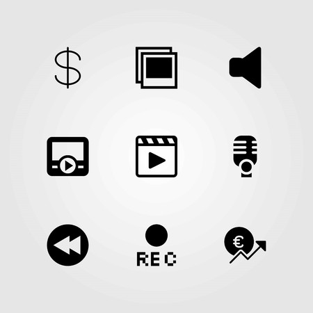 Buttons vector icons set. microphone, mute and dollar