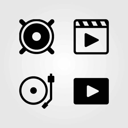 Multimedia vector icons set. movie player, speaker and turntable Çizim