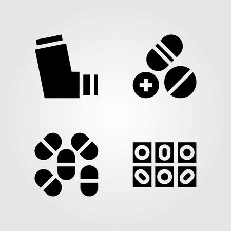 Medical vector icons set. inhaler and pills