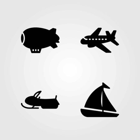 Transport vector icons set. sailboat, snow mobile and aeroplane Çizim