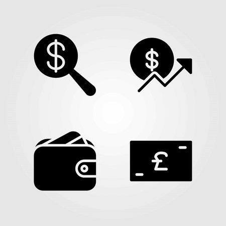 Money vector icons set. pound sterling, dollar and wallet