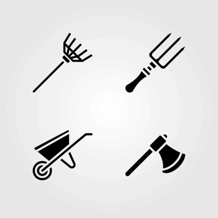 Garden vector icons set. fork, axe and rake