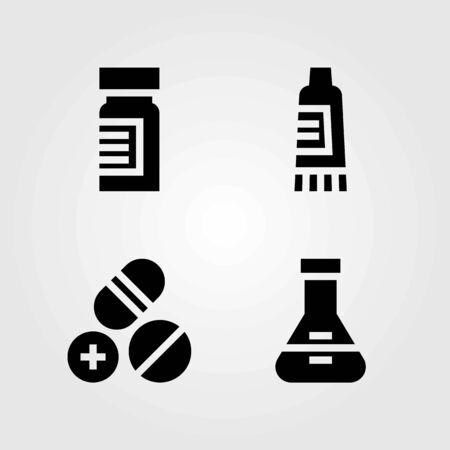 Medical vector icons set. cream, pills and medicine