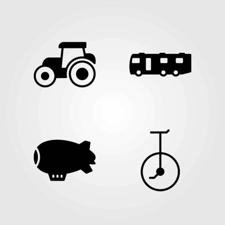 Transport vector icons set. tractor, zeppelin and unicycle