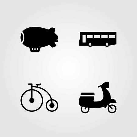 Transport vector icons set. bus, bicycle and motorbike