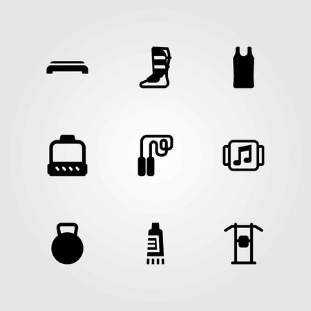 Fitness vector icons set. kettlebell, step and sport shirt