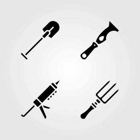 도구 벡터 아이콘을 설정합니다. 삽, 긁는 도구와 포크
