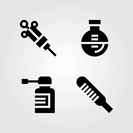 Medical vector icons set. spray, thermometer and syringe