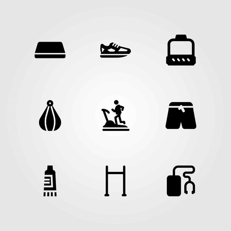 Fitness vector icons set. shoes, pants and gym mat