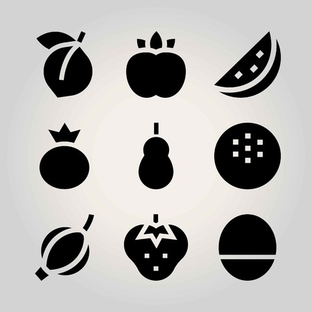 Fruits vector icon set. mango, berry, watermelon and strawberry