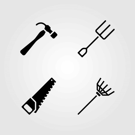 Garden vector icons set. rake, handsaw and fork