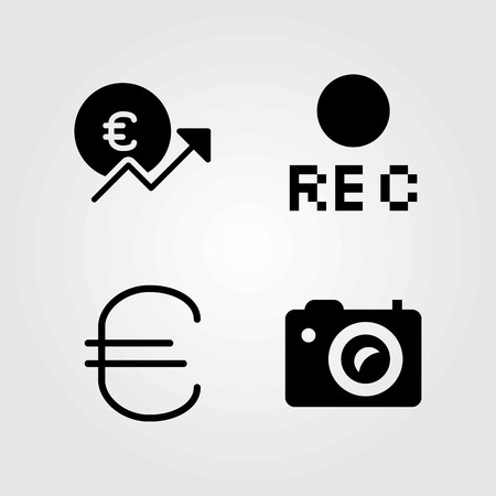 Buttons vector icons set. rec, euro and photo camera
