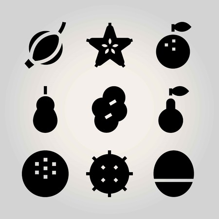 Fruits vector icon set. mango, lychee, prune and coconut