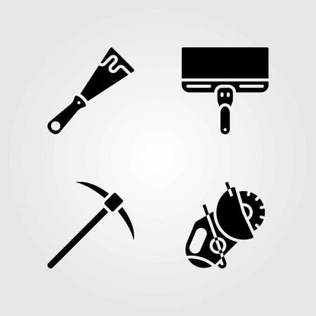 Tools vector icons set. pick axe, scraper and power saw