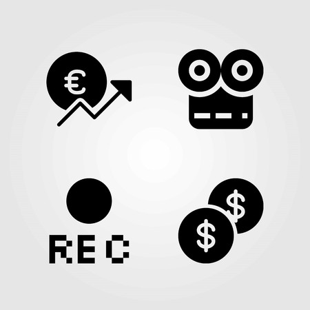 Buttons vector icons set. euro, rec and dollar coin