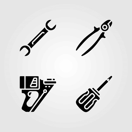 Tools vector icons set. wire cutter, screwdriver and nail gun