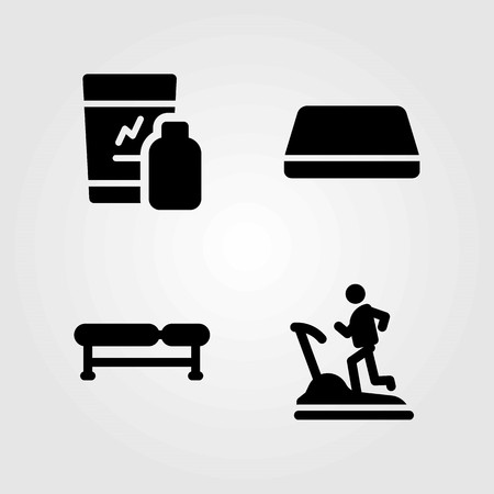 Fitness vector icons set. Treadmill and gym mat.
