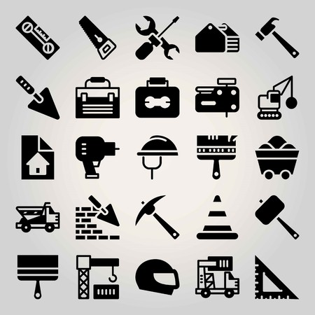 Construction vector icon set. Saw, tool set and trowel.