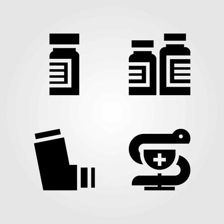 Medische vector iconen set. medicijnen, inhalator en apotheek