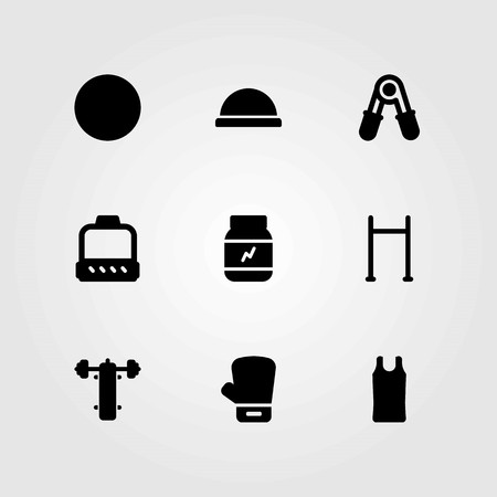 Fitness vector icons set. bench press, pull up and glove