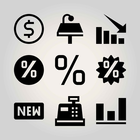 Technology vector icon set. percentage, table, sign and analutics