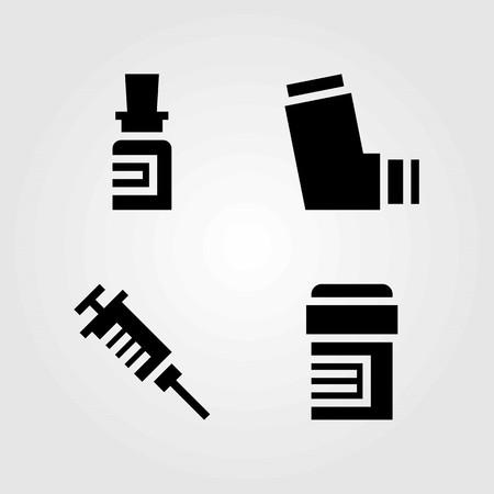Medical vector icons set. inhaler, pills and medicine