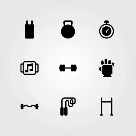 Fitness vector icons set. Chronometer and gym gloves. Illustration