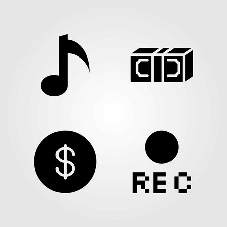 Buttons vector icons set. musical note, dollar and dollar coin Illustration