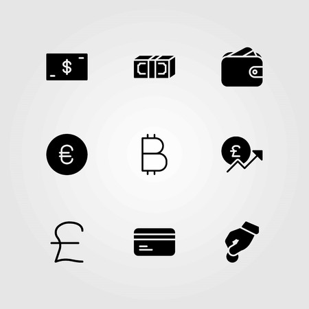 Money vector icons set. pound sterling, euro and credit card