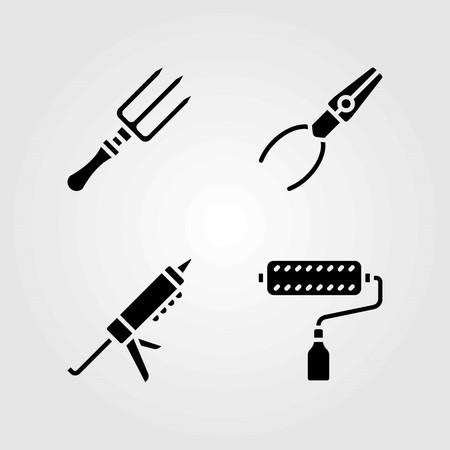 도구 벡터 아이콘을 설정합니다. 실란트 총, 플라이어 및 포크 일러스트