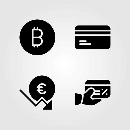 Bank vector icons set. coin, credit card and euro Çizim