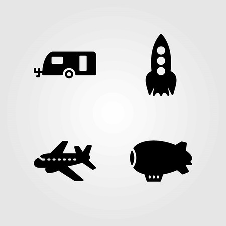Transport vector icons set. aeroplane, rocket and zeppelin