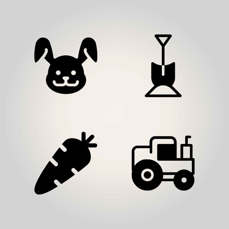 Farm vector icon set. rabbit, tractor, carrot and shovel Çizim