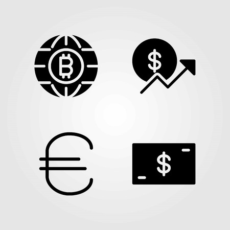 Sign vector icons set. dollar, money and coin