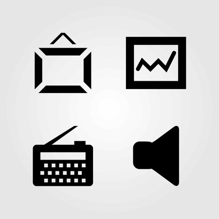 Multimedia vector icons set. mute, analytics and speaker