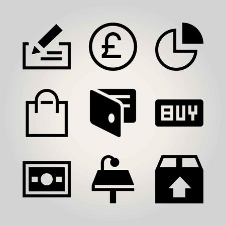 Business vector icon set. package, chart, check and bag Illusztráció