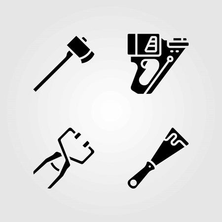 Tools vector icons set. axe, clamp and scraper