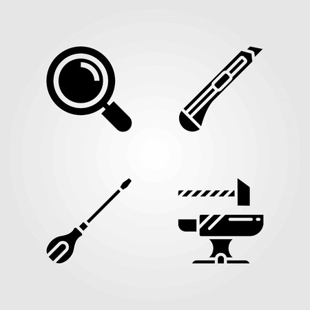 Tools vector icons set. anvil, loupe and screwdriver